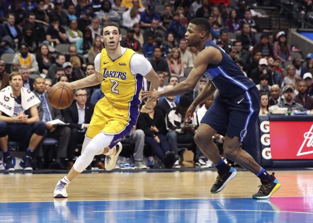 Los Angeles Lakers guard Lonzo Ball (2) drives to the basket as Dallas Mavericks guard Dennis Smith Jr. (1) defends during the second half at American Airlines Center. Photo: Kevin Jairaj-USA TODAY Sports