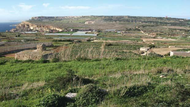 The illegal fireworks factory in a field at Tal-Għajn, Mellieħa, (partially seen at far right) borders two watercourses, posing a potential threat to the quality of irrigation water in nearby seasonal streams and underground.