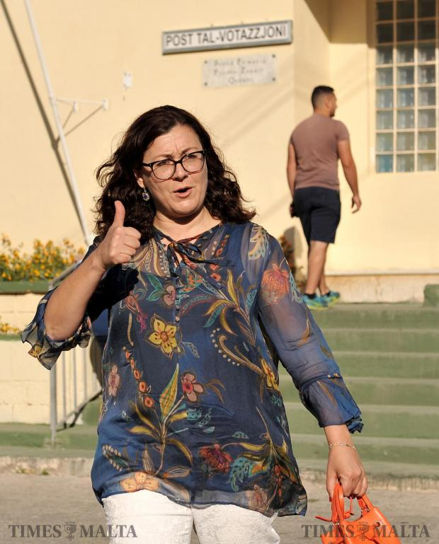 An optimistic Marlene Farrugia gives the thumbs up after casting her vote in Qrendi on June 3. Photo: Chris Sant Fournier