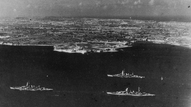 The three Italian battleships that remained anchored at Marsaxlokk from October 1943 to June 1944. The one at top right is the Duilio, while the others are the Doria (left) and Cesare (right) Photos: National War Museum Association