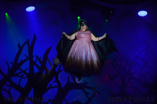 The fairy godmother flies through the air during the MADC Pantomine Cinderella, at theMFCC in Ta'Qali on December 21. Photo: Matthew Mirabelli