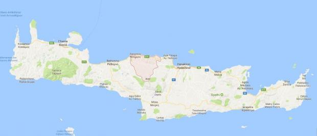 Mylopotamos is a small municipality in northern Crete. Image: Google Maps