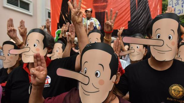 'Enough of the lies...we must vote this year,' one of the masked activists said. Photo: Reuters