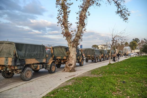 A Turkish military convoy at Kirikhan, in Hatay region at the Syria border, on January 12, 2019