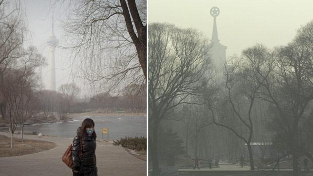 A woman wearing a mask while walking in a park on a hazy day in Beijing, China, yesterday. Right: People at a park near the Military Museum (background) in Beijing, yesterday. Photos: AP