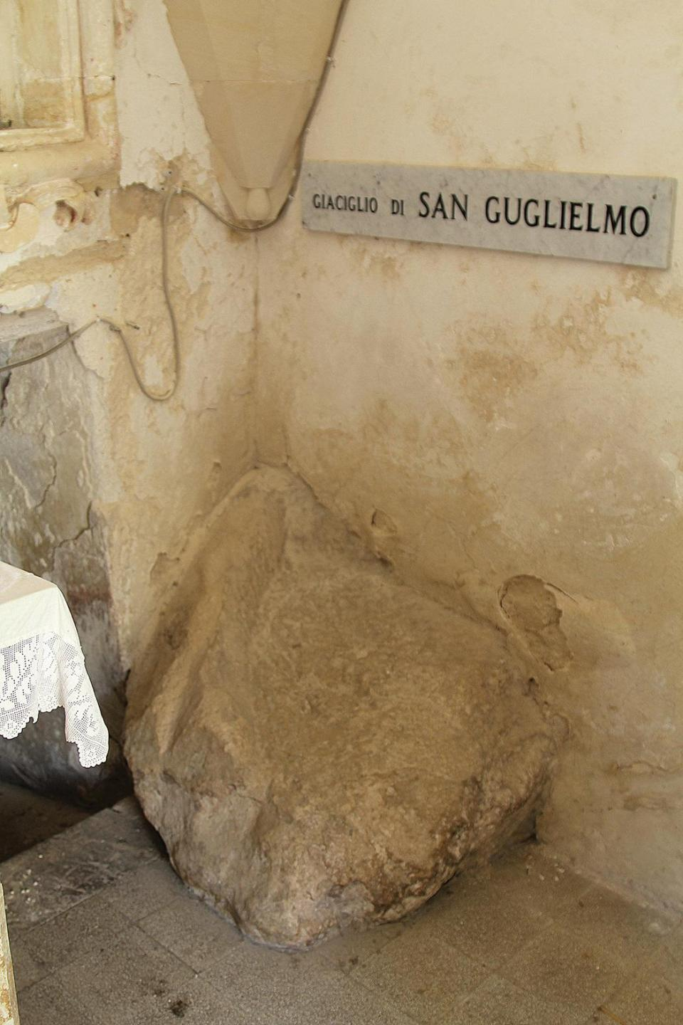 A stone used as a bed by San Guglielmo the hermit.