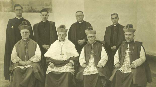 Mgr Galea (seated, right) seen together with (from left) Bishop of Gibraltar Richard Fitzgerald, Archbishop of Malta Michael Gonzi and Bishop of Gozo Joseph Pace, in a photograph taken on Decemebr 17, 1944, at that Bishop's Curia in Gozo.