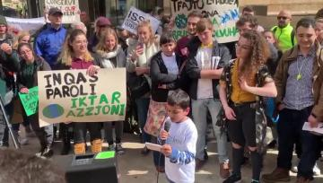 Young Samwel Attard was among the activists. Video: Ivan Martin