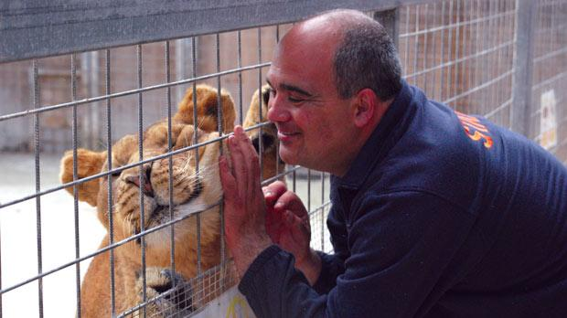 Chris Borg with some of the animals at the Malta Wildlife Park in Mtaħleb.