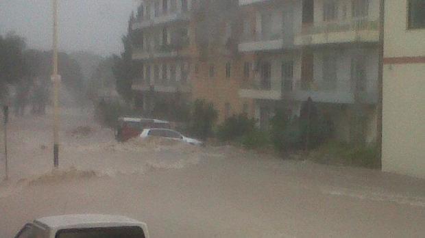 Water flows down Naxxar Road, Ikllin - Picture Victor Aquilina - mynews@timesofmalta.com