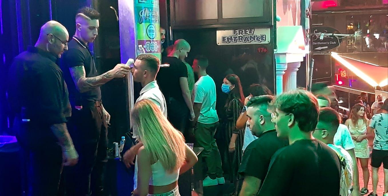Temperature checks at a nightclub in the Paceville district. Photo: Chris Sant Fournier