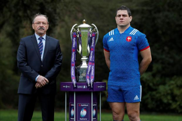 France head coach Jacques Brunel and Guilhem Guirado pose during the launch.