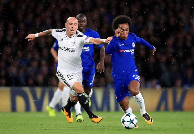 Chelsea's Willian moves past Richard Almeida, of Qarabag.