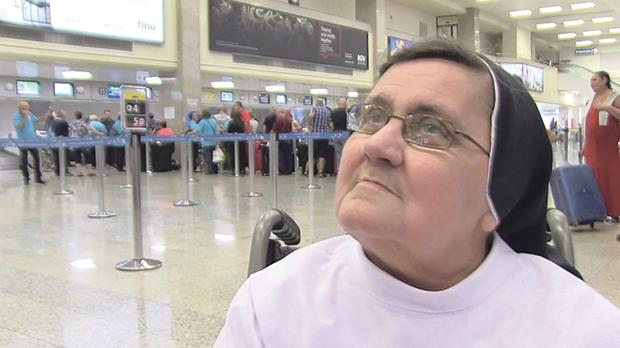 Sister Dorothy Mizzi just before leaving for her trip to Lourdes.