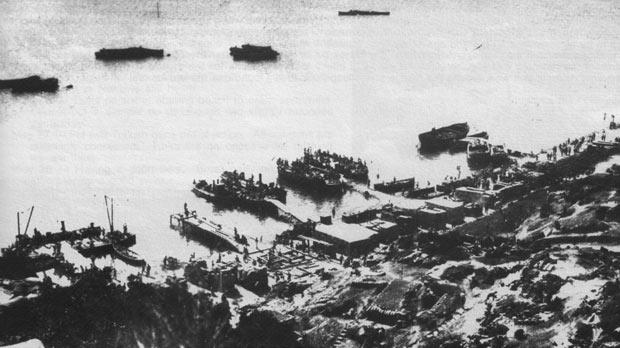 An overhead view of Anzac cove in June 1915.