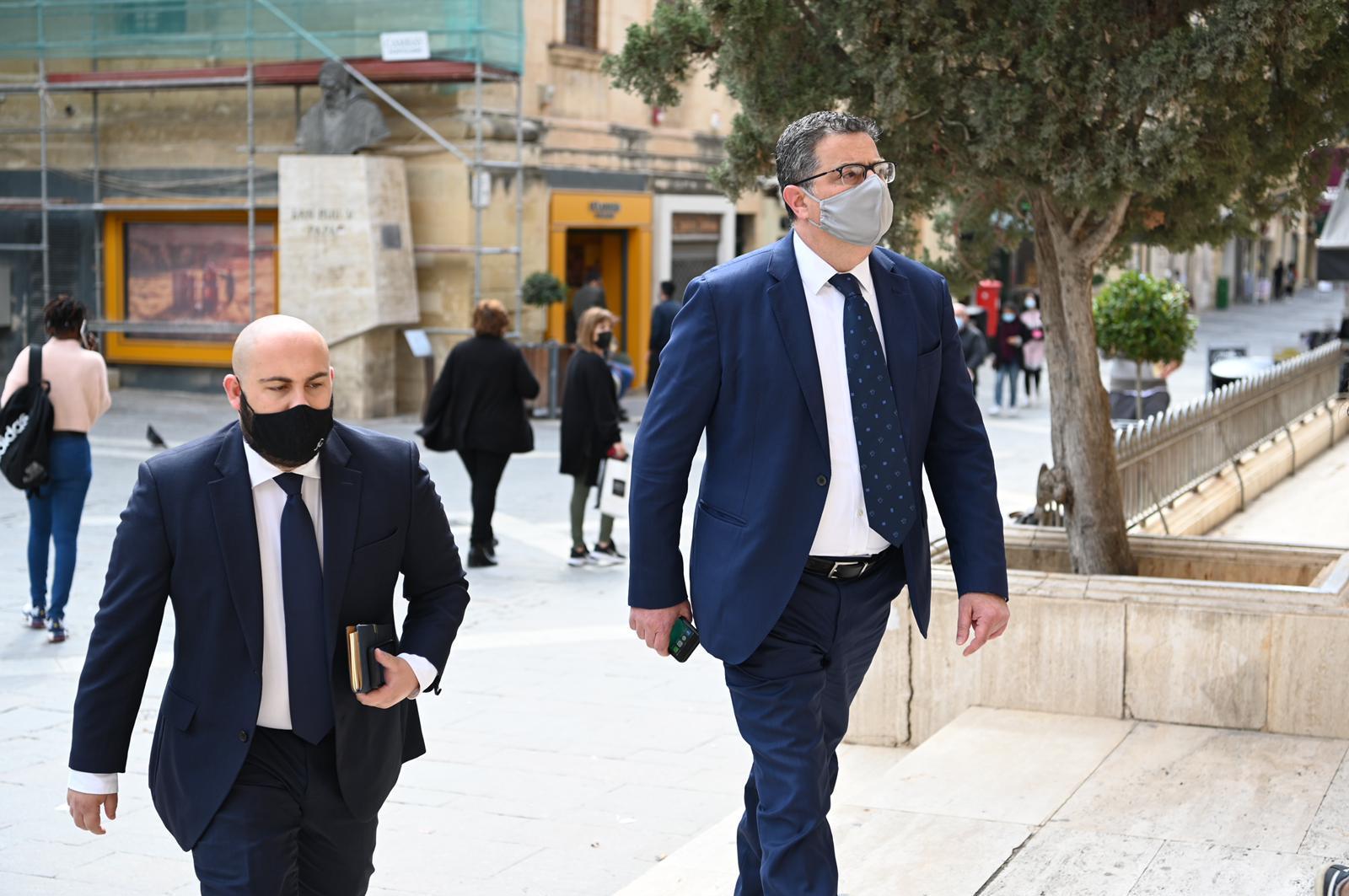 Adrian Delia entering the Valletta law courts on Wednesday. Photo: Mark Zammit Cordina
