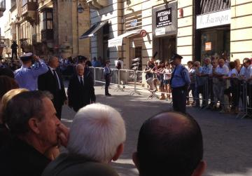 Dr Eddie Fenech Adami arrives for the funeral march.