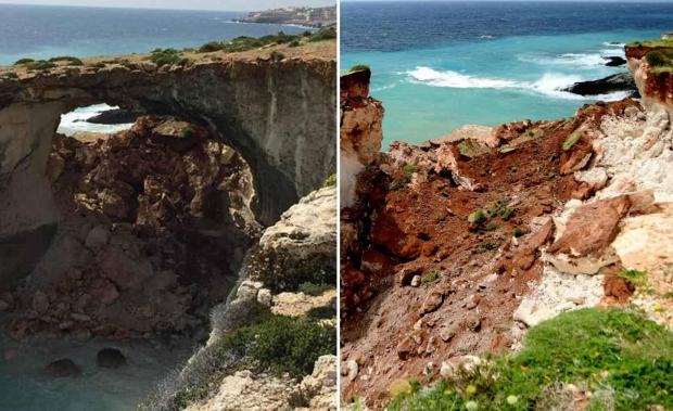 The initial collapse formed a natural arch (left) but by Saturday afternoon that too was gone (right).