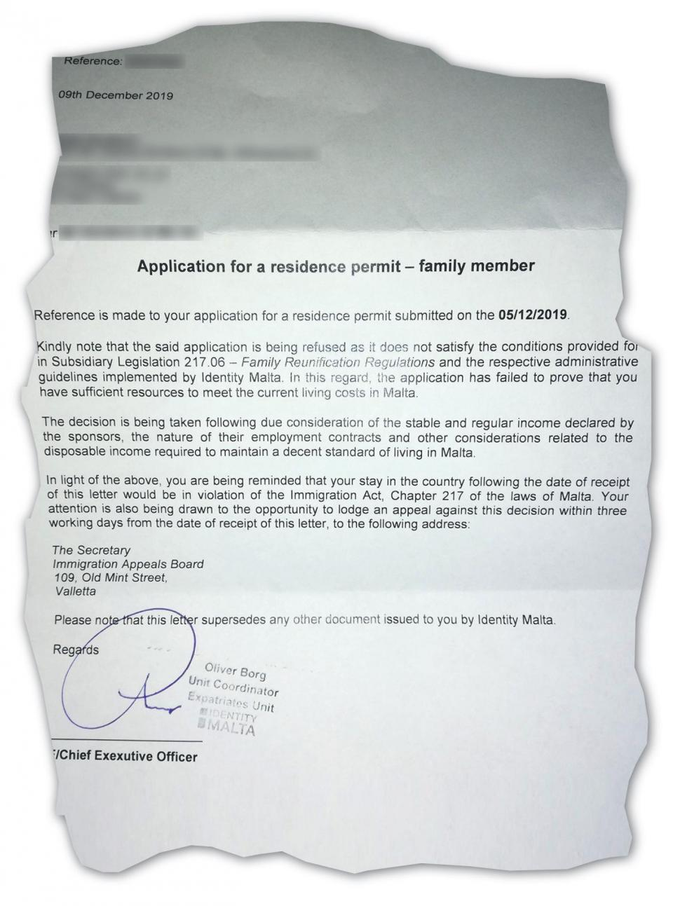 A letter to parents telling them their children's residency is rejected.