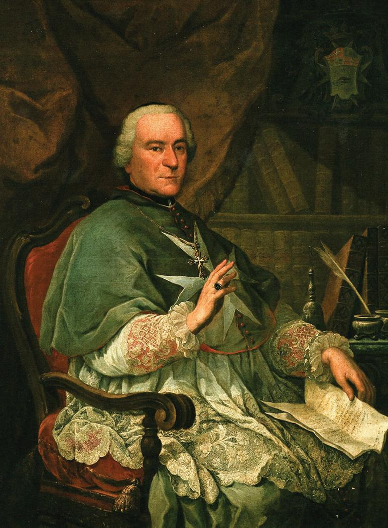 Bishop Giovanni Carmine Pellerano (1770-80) in a portrait by Francesco Zahra (1710-73): considered an upholder of Maltese rights, he was recalled to Rome and never returned to Malta.