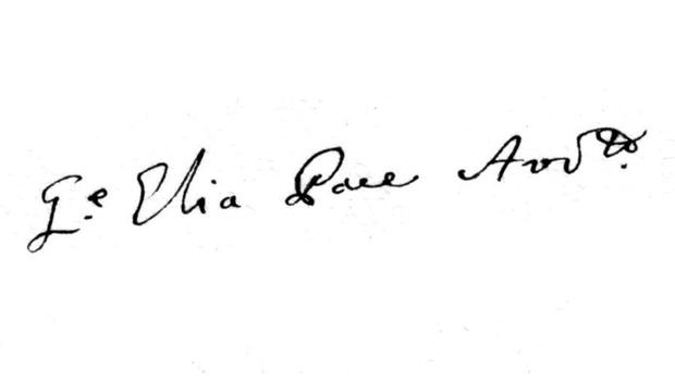 Pace's signature taken from a lawsuit dated November 6, 1780.
