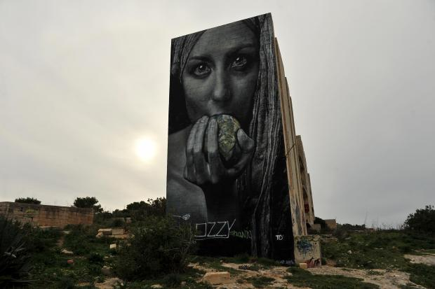 A graffiti mural covers the side of a derelict building at White Rocks on January 15. Photo: Chris Sant Fournier