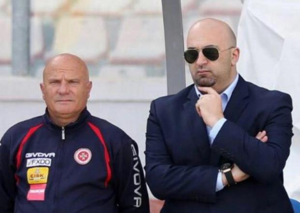 Malta coach Ray Farrugia (left) alongside Ivan Vella, team manager of the national team.