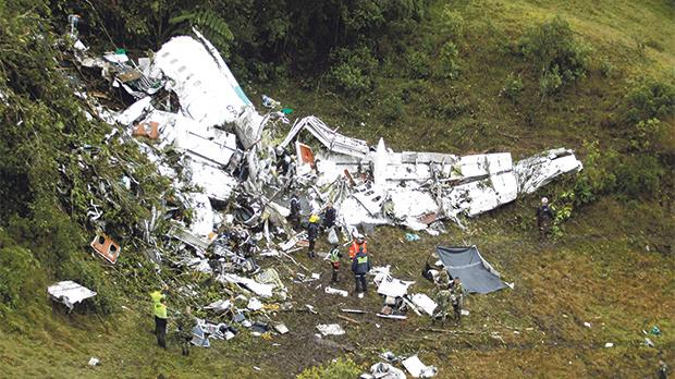 Wreckage from a plane that crashed in the jungle carrying  Brazilian team Chapecoense near Medellin, Colombia. Photo: Reuters