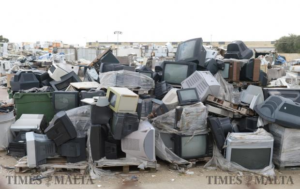 Old television sets and monitors at the Hal Far bring in site on February 7. Photo: Matthew Mirabelli