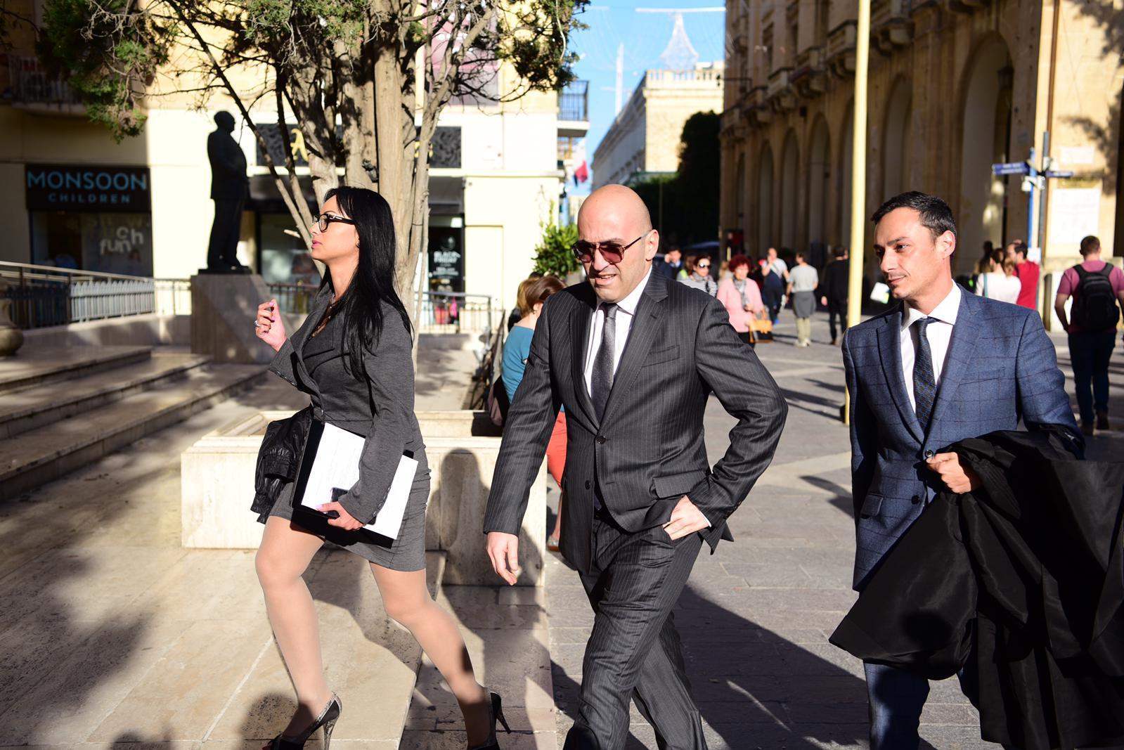 Yorgen Fenech, centre, arrives in court. Photo: Mark Zammit Cordina