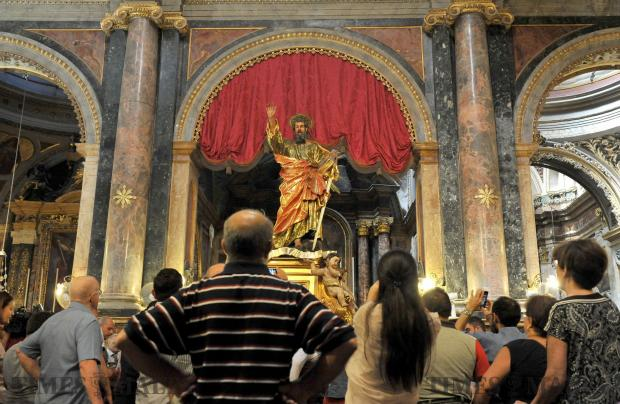 The statue of St Paul is moved from its niche to another part of the St Paul's Church in Valletta ahead of the feast of St Peter & St Paul on June 25. Photo: Chris Sant Fournier