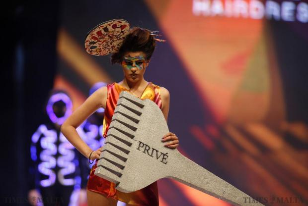 A model presents a creation by hairstylist Marielle Calleja of Prive at the Malta Fashion Awards 2015 at the Marsa Shipbuilding warehouse on May 16. Photo: Darrin Zammit Lupi
