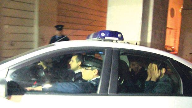 Suspect Nicholas Grech being driven to the Valletta courts last night. Photo: Mark Zammit Cordina