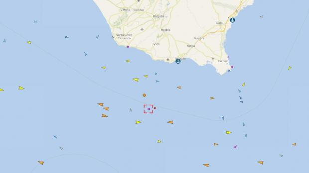 ...but is now heading west, with an Italian coast guard vessel close behind. Image: Vessel Finder