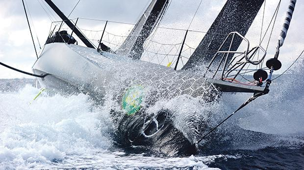 Boats cut through the water during the Rolex Middle Sea Race. Photo Jonathan Borg