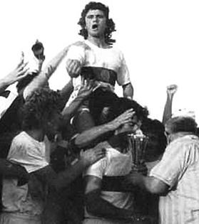 Frans Magro lifted by his team-mates after scoring the goal which gave Għajn-sielem their fifth Gozitan championship in a row back in 1974.