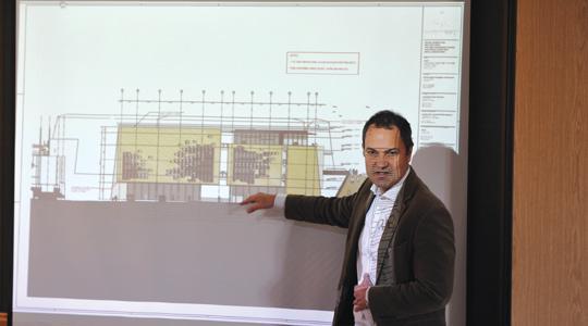 Architect Konrad Buhagiar showing Mepa board members a drawing of Parliament's façade. Photos: Chris Sant Fournier