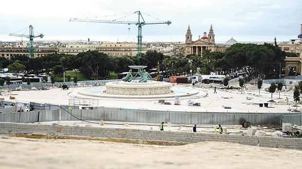 Work at Triton Place is still under way, only a month away from Valletta assuming the title of European Capital of Culture. Photo: Jonathan Borg