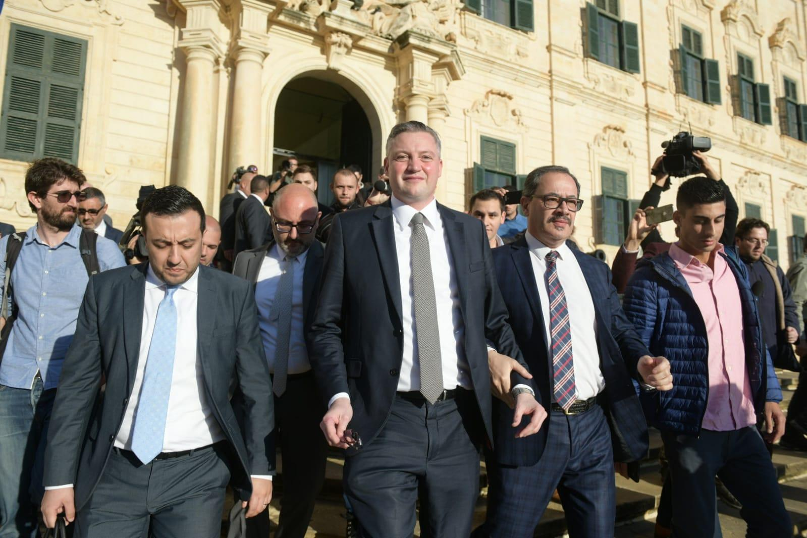 Konrad Mizzi walks out of Castille. Photo:Matthew Mirabelli