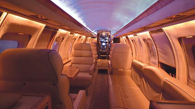 The interior of the Jetstar, which was the first private jet you could stand up in.