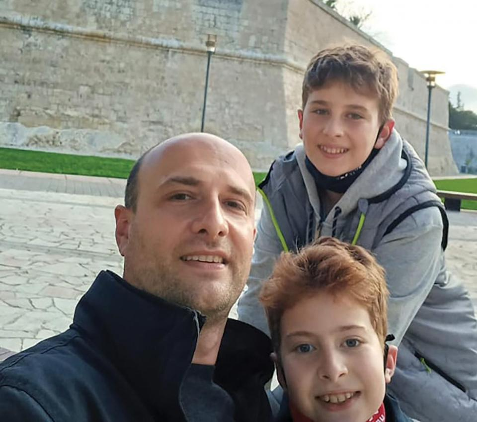 Dusan Dimitrijevic with his sons Marko (top right) and Uros