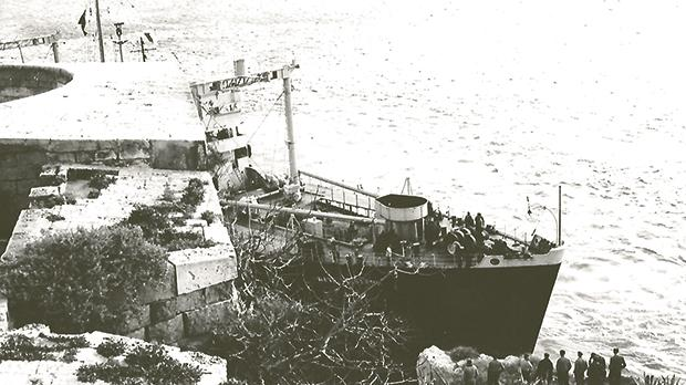 Neither the first nor the last: Wave Monarch aground at Imgherbeb Point on February 13, 1956.