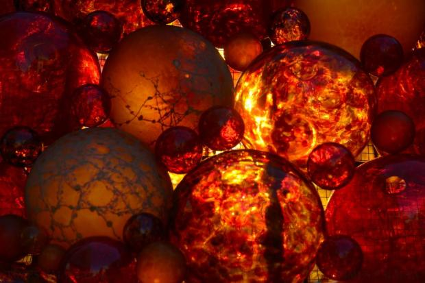 Glass baubles delicately put together by Mdina Glass glow with the sunlight at City Gate in Valletta on November 30. Photo: Matthew Mirabelli