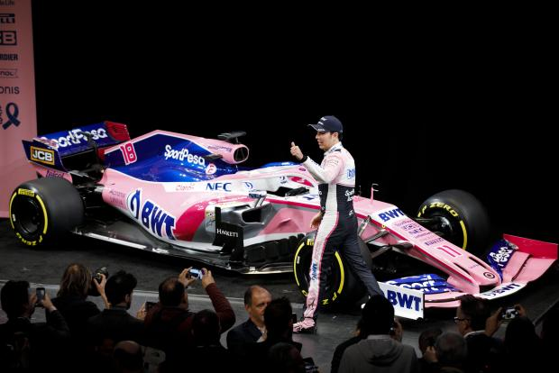 SportPesa Racing Point's driver Sergio Perez gives thumbs up after unveiling the new livery.