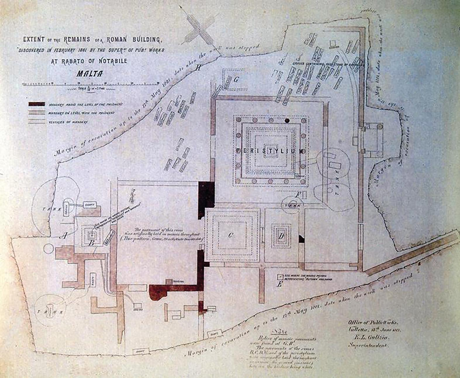 A plan showing the remains uncovered by Caruana in 1881.