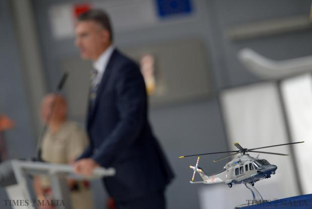The second of three €13 million helicopters to be used for border control is inaugurated at the Armed Forces Air Wing on July 30. Home Affairs Minister Carmelo Abela said the government had spent more than €60 million on the Air Wing so far this legislature. Photo: Matthew Mirabelli