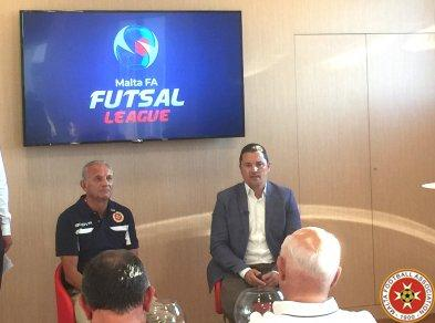 Dr Matthew Paris (right) and national coach Vic Hermans during today's futsal launch.