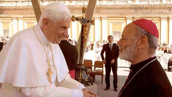 Bishop Micallef with Pope Benedict  XVI. Photo: avona.org