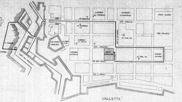 The procession route from the Castellania prison to the Floriana glasis.