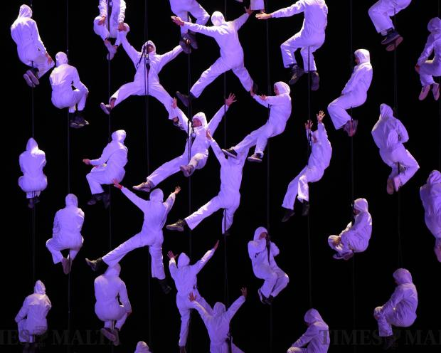 Performers are suspended in the air during the opening ceremony of Valletta 18 European Capital of Culture on January 20. Photo: Mark Zammit Cordina